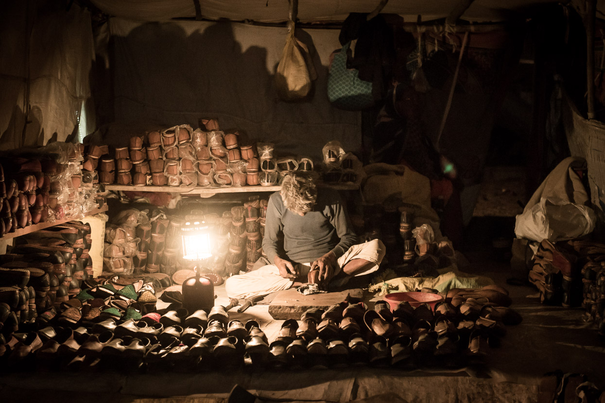shoemaker at pushkar camel fair