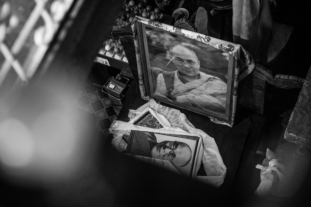 pictures of Dalai Lama in buddhist temple in manali