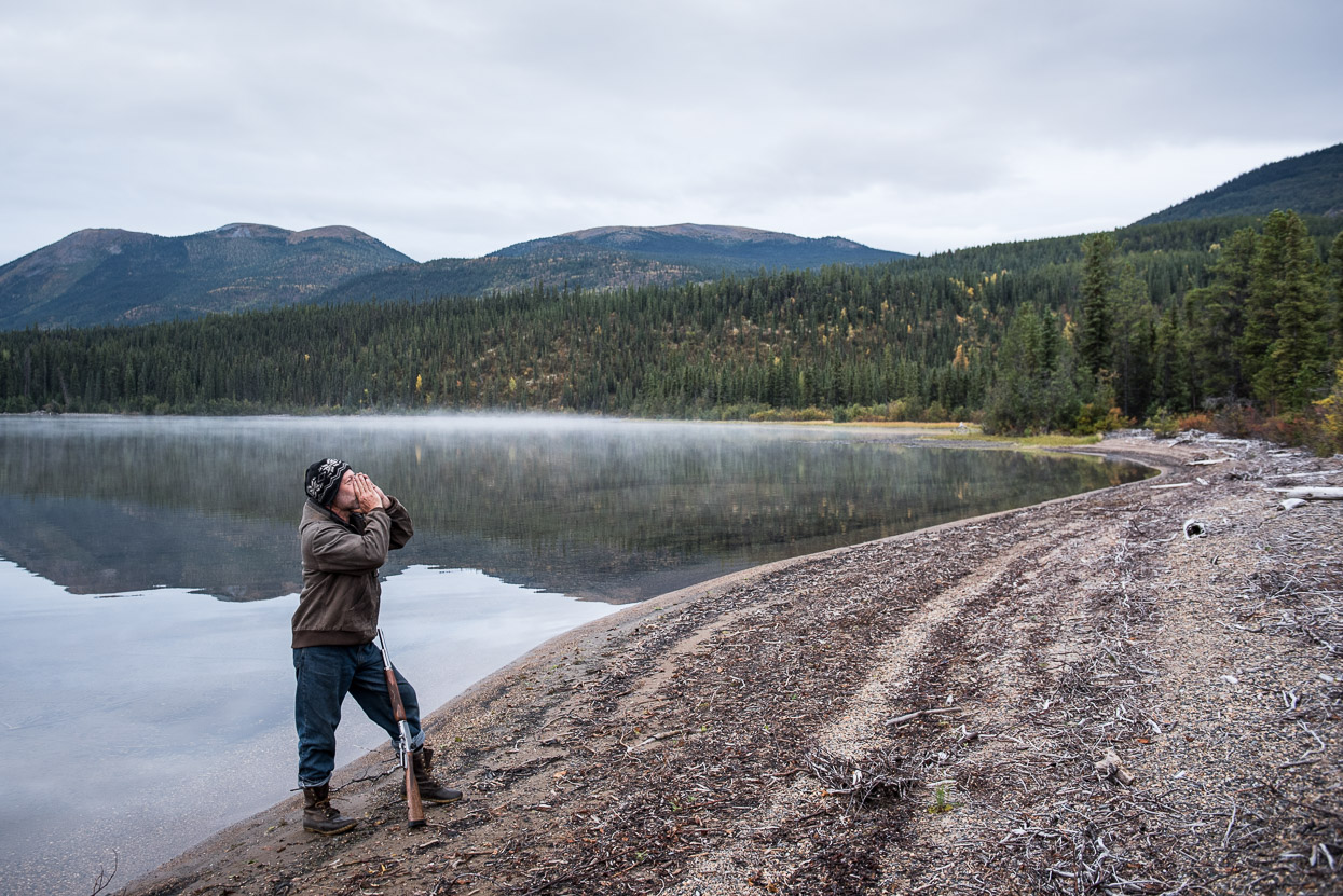 Hunter Doug Martens is calling for a moose at Quiet Lake