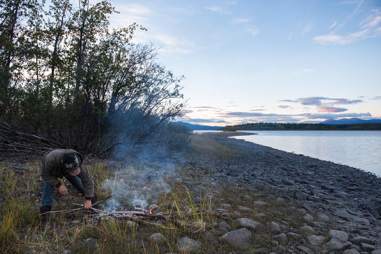 Making fire on an island in Teslin Lake