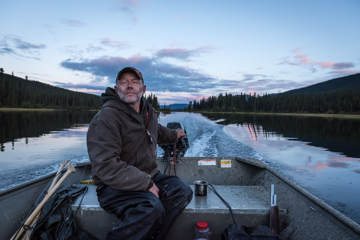 Yukon fisherman Doug Martens totally relaxed on his boat