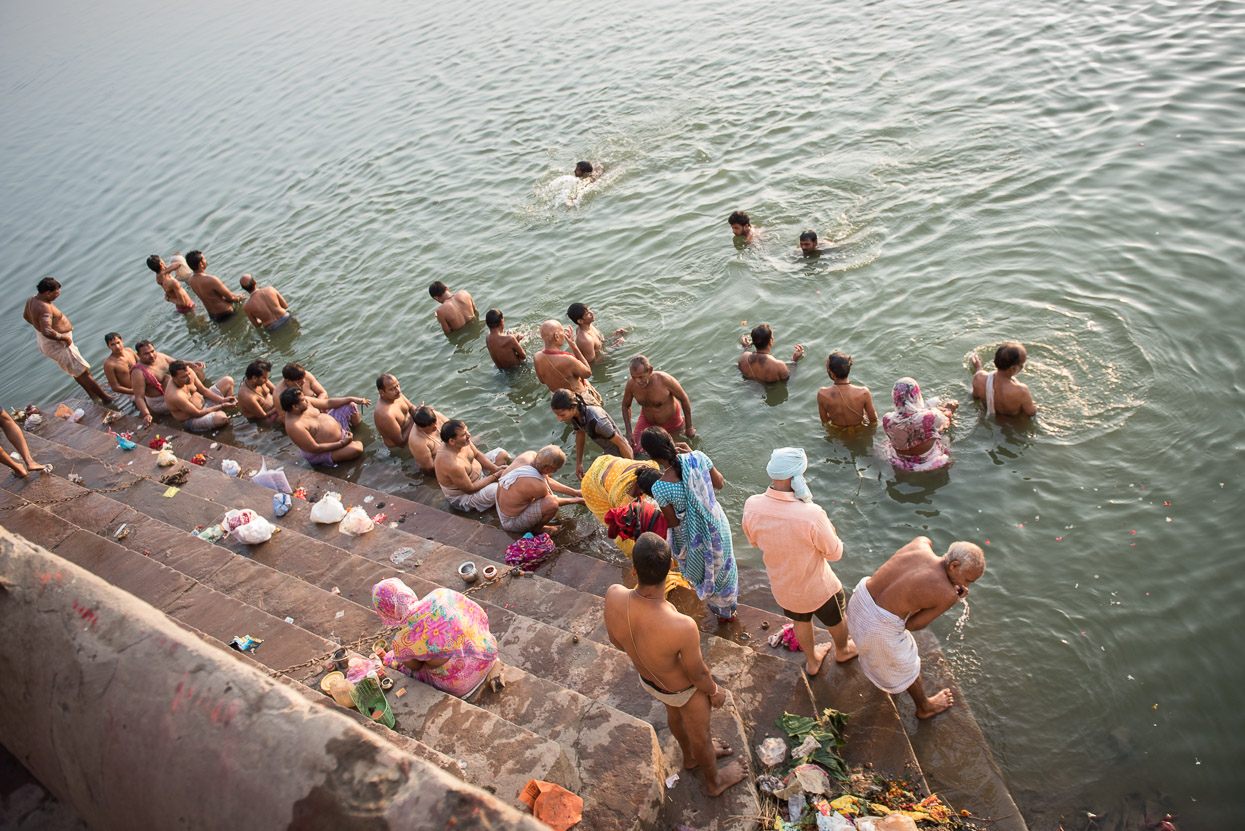 Hindus taking their ritual morning bath in the holy river Ganges.