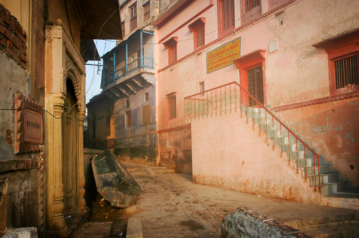 Housis lit by morning sun at Munshi Ghat Varanasi